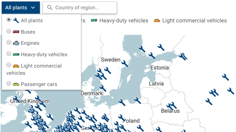 Interactive map: automobile assembly and engine production plants in Europe