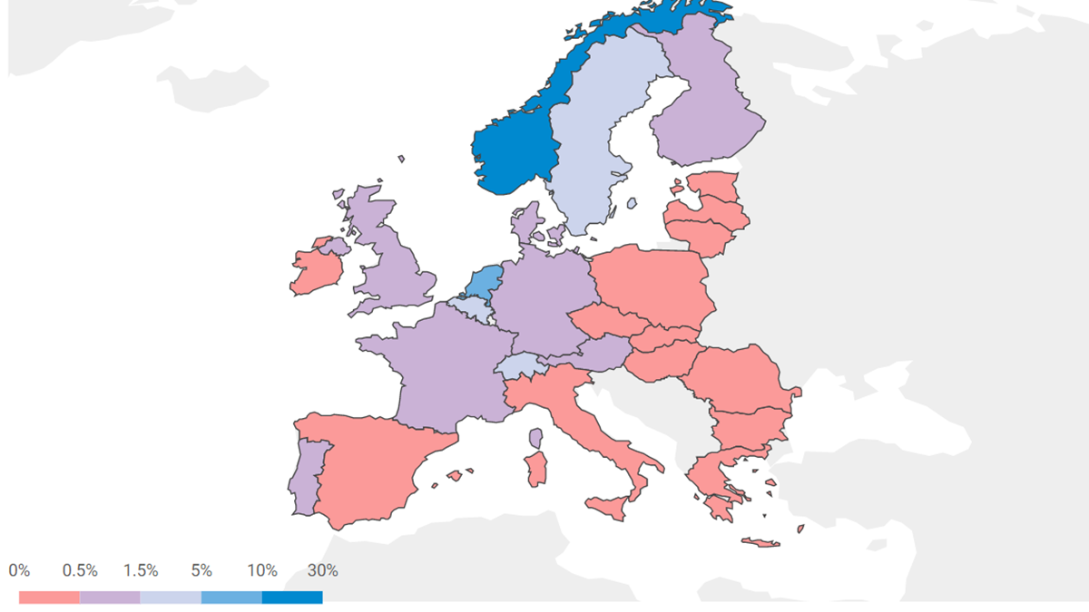 Interactive map: Correlation between uptake of electric cars and GDP in the EU